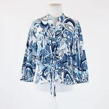 Blue white floral print 100% cotton NINE WEST 3/4 sleeve front tie blouse M