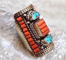 Coral Turquoise Nepali Tibetan Ring Ethnic Hippie Bohemian Gypsy Boho Jewelry
