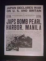 VINTAGE NEWSPAPER HEADLINE ~WORLD WAR 2 JAPAN PLANES BOMB PEARL HARBOR WWII 1941