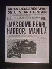 VINTAGE NEWSPAPER HEADLINE ~WORLD WAR 2 JAPANESE PLANES BOMB PEARL HARBOR WWII~