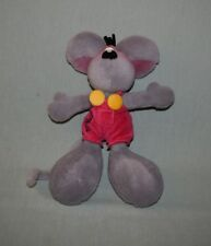 "Plush Diddl Thomas Goletz Grey Mouse 12"" Germany - Pink Overalls"