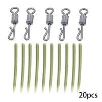 20pc Carp Fishing End Tackle lead clips Quick Change swivels Anti Sleeves X4R9