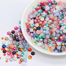 3/4/5/6/8mm Multicolor Flat Back half pearl beads Nail rhinestone Wedding Decora
