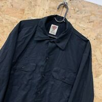 "Vintage Dickies ""Flex"" Black Long Sleeved Canvas Workwear Shirt Size Medium M"