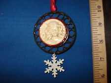 Angel Ornament Cameo with Snowflake Charm Wire and Ceramic 440522  22