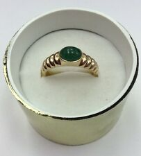 14K REAL GOLD Women's Real Cabochon EMERALD RING SZ 8 / 3.3g