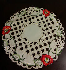 """16"""" Round  Embroidered  Tablecloth Red Poppy Floral Placemat"""