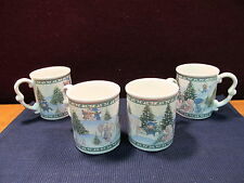 (4) Precious Moments Christmas Mugs Excellent Condition