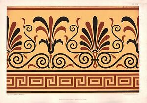 1892 PRINT ~ PLATE XIX ORNAMENTIST AESTHETIC AUDSLEY ORNAMENT ANTIQUE CHROMO