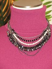 LANE BRYANT NWT $30 women's necklace multi strand black silver clear disco