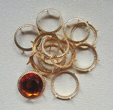 Acrylic Flatback Jewels 18mm, plus rim settings 24pc.Orange