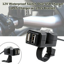 Motorcycle Scooter ATV's Handlebar 12V Waterproof Switch Dual USB Phone Charger