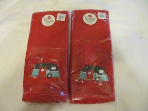 CANNED HAM VINTAGE CAMPER SET OF 2 BATH HAND TOWELS Cherry Red