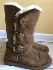 Kids Ugg Boots Tall Eva Sole 3 Button Chestnut Size 4 Genuine Leather/Sheepskin