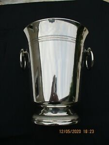 FRENCH LARGE TALL CLASSIC SILVERPLATED CHAMPAGNE COOLER BUCKET BARWARE HALLMARK