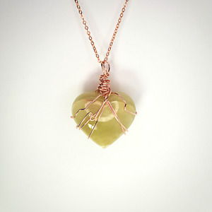 Green Onyx Heart Crystal | Wire Wrapped Rose Gold Pendant | With Chain