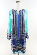 THE LIMITED Long Sleeve Printed V-Split Neck Dress Tie Front Size PL