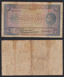 Malta 10 shillings 1939 MB/F  B-10