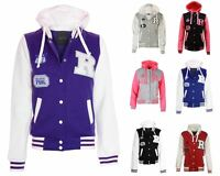 Womens Jacket Hooded Badge Stylish Plus Contrast Baseball Varsity Sizes UK 16-28