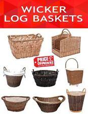 Wicker Storage Hamper Vintage Laundry Picnic Large Basket Log Cart Toys Storage