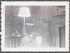 Unusual Vintage Photo Woman Sewing w/ Lamp Light in Home Interior 739591