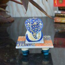 Marble Lord Ganesha on Chowki (10 cm x 10 cm x 10 cm, Blue and White)