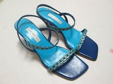 Ann Marino Two Tone Blue Leather Ankle Wrap Heels Sandal Size 6.5 New