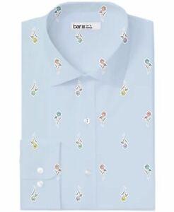Bar III Mens Dress Shirt Blue Size S 14-14 1/2 Floral Slim Fit Stretch $65 097