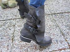 AS98 AS 98 Air Step Bikerboots Boots Stiefeletten schwarz grau Leder 41 NEU