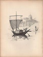 1936 Nave a vela stampa ~ un DINGHI sul Gange ~