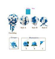 Malibu Turquoise, White, & Silver Wedding Flowers Bouquet, Corsage, Boutonniere