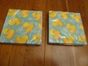 Rubber Ducky Bubble Bath Baby shower Beverage Napkins 2 packs x 16 =32 +bonus