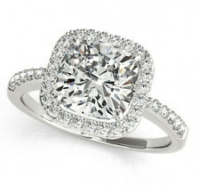 Cushion Halo Micro Pave Engagement Ring 2.60 Ct Forever One Ghi Moissanite