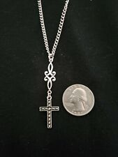 Silver Tone Cross #6 necklace or earrings stainless steel
