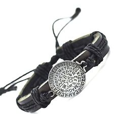 New Fashion Rope Bracelet For Women Men Cuff Charm Genuine Leather BLACK COLOR