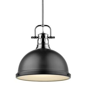 Duncan 1-Light Chrome Pendant and Rod with Matte Black Shade by Golden Lighting