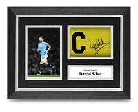 David Silva Signed A4 Framed Captain Armband Photo Display Man City Autograph