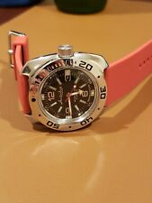Vostok Amphibian Automatic Mens Wristwatch Self-Winding w/ Red Archer Strap