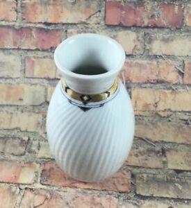 Eschenbach Germany black white porcelain vase Gold Trim Bud Vase Art Deco 4 Inch