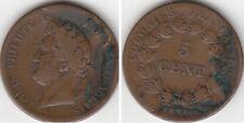 Monnaie 5 Centimes en bronze des Colonies Française Louis-Philippe 1839 A