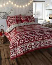 SINGLE BED DUVET COVER SET ALPINE WINTER SNOW FLAKES RED IVORY FESTIVE BEDDING