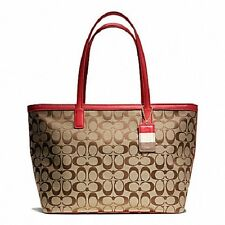 NWT Authentic Coach 23465 Weekend Medium Zip Top Tote BKHRD Khaki/Red gift reipt