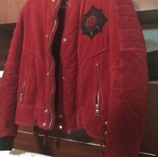 Men's BALMAIN Badge-embellished (Red)Velvet Bomber Jacket. 100% Authentic