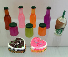 Dollhouse miniature 10 pcs set of Soda, Jam bottles and two cakes