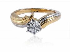 0,50 Carats Ronde Brillante Couper Diamants Solitaire Bague En 750 Solide 18K Or