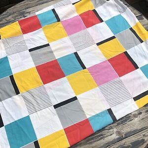 80s Vintage Cannon Twin Fitted Bed Sheet Memphis Geometric Print Red Aqua Fabric