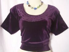 "Dark Purple Velvet STRETCH Choli Top Sari Saree Good Fit Yoga Workout 36"" #ADEFA"