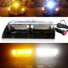 Car 16 LED White&Amber Police Strobe Flash Light Dash Emergency Bar Warning Lamp