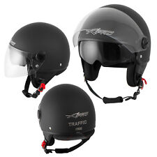 Open Face Jet Helmet Motorbike Scooter Duuble Visor Inner Sun Matt Black M