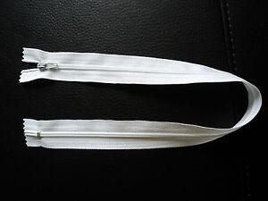 fermeture éclair 40 cm, blanche, non séparable, W40NS-BLA